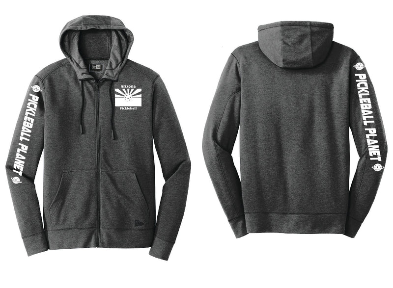 Men's Full Zip Hoodie Black Heather Arizona Flag