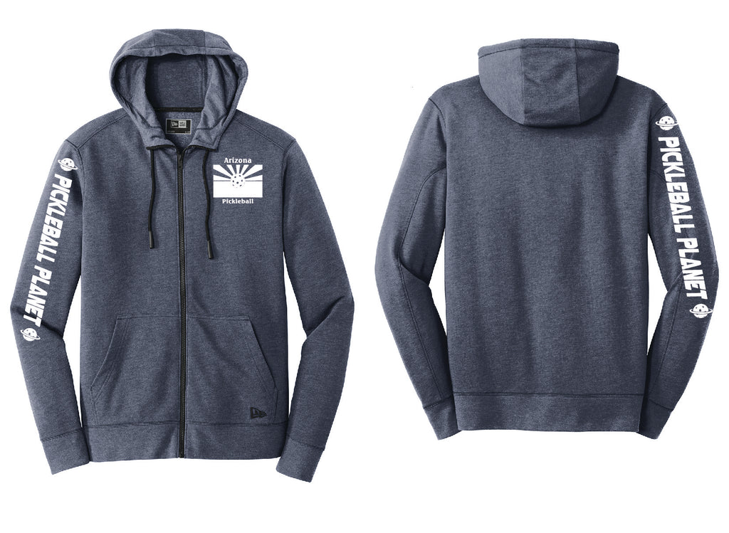 Men's Full Zip Hoodie Navy Blue Heather Arizona Flag