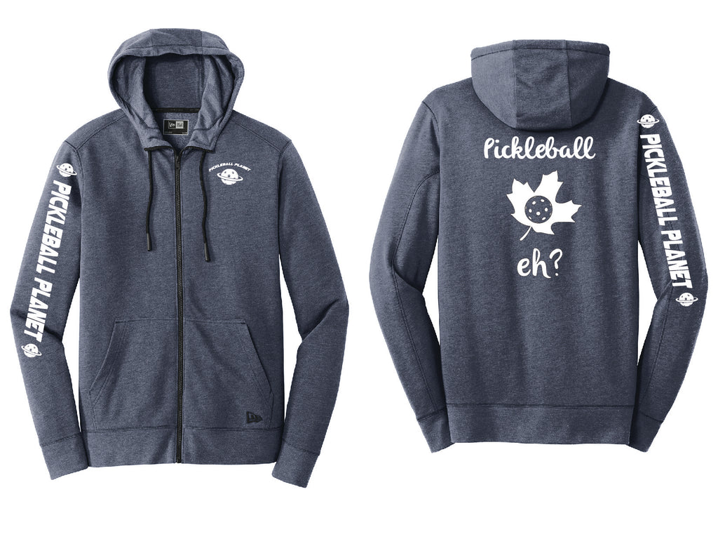 Men's Full Zip Hoodie Navy Blue Heather Pickleball Eh