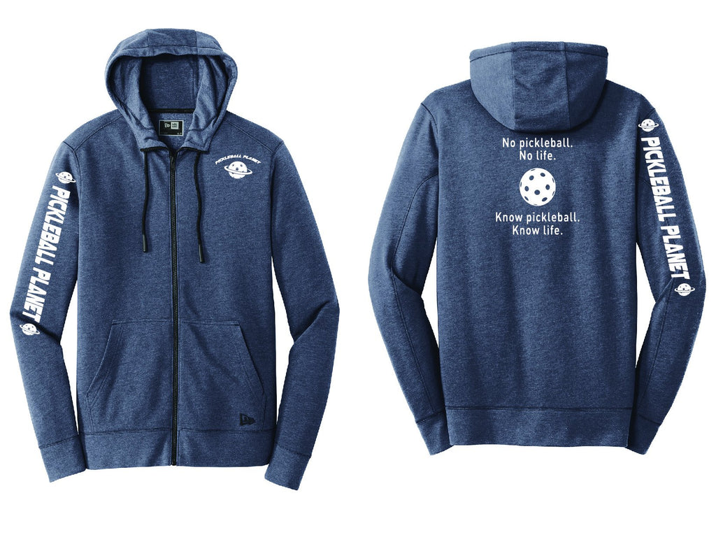 Men's Full Zip Hoodie Navy Blue Heather Know Pickleball