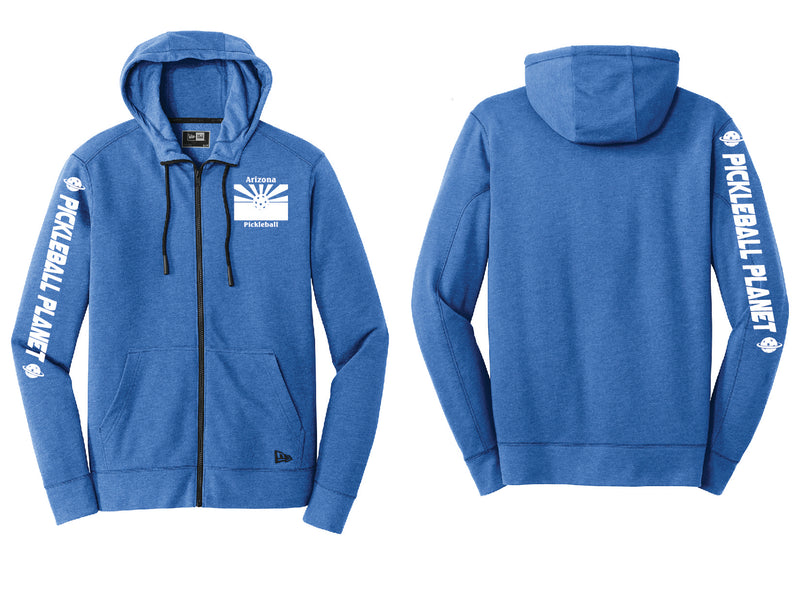 Men's Full Zip Hoodie Royal Blue Heather Arizona Flag