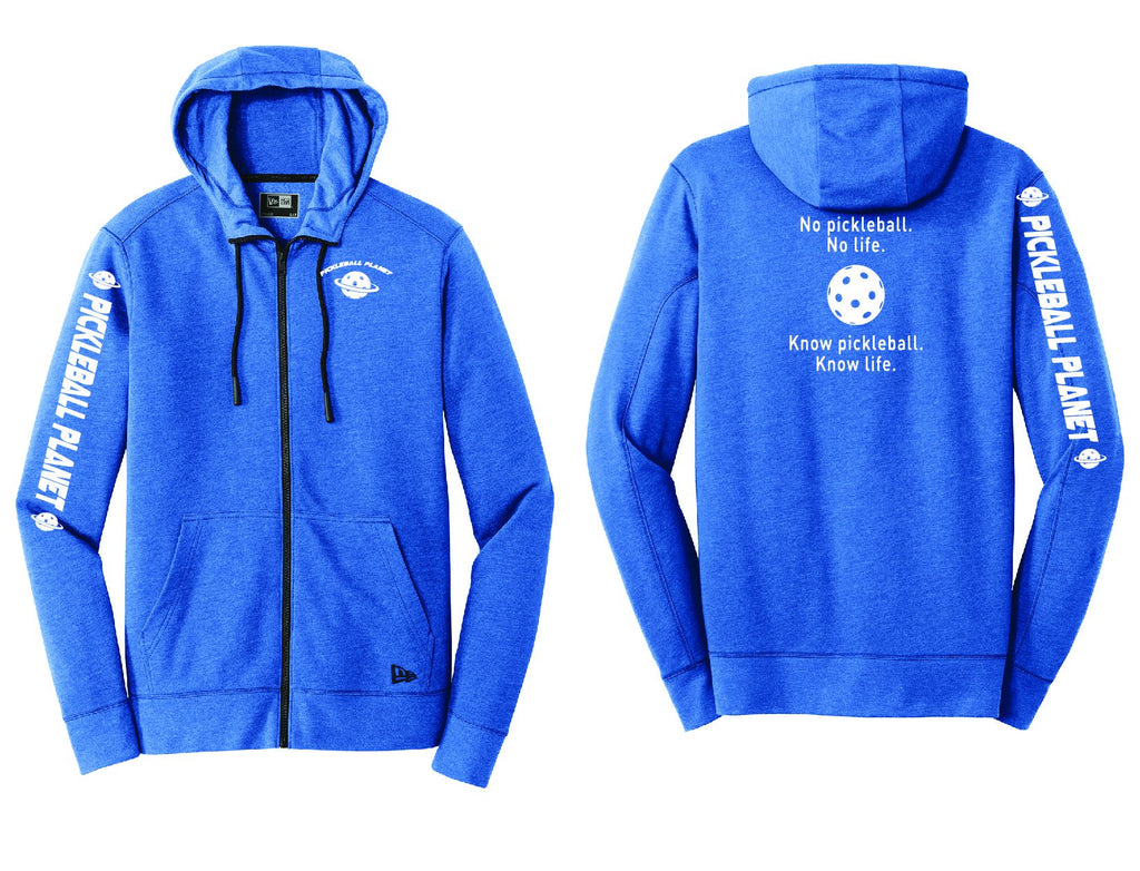 Men's Full Zip Hoodie Royal Blue Heather Know Pickleball