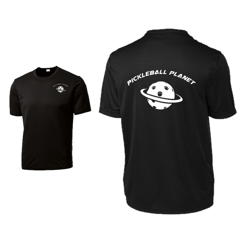 Black Pickleball Planet tee shirt