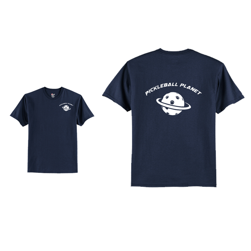Men's Short Sleeve Cotton Navy Blue Pickleball Planet