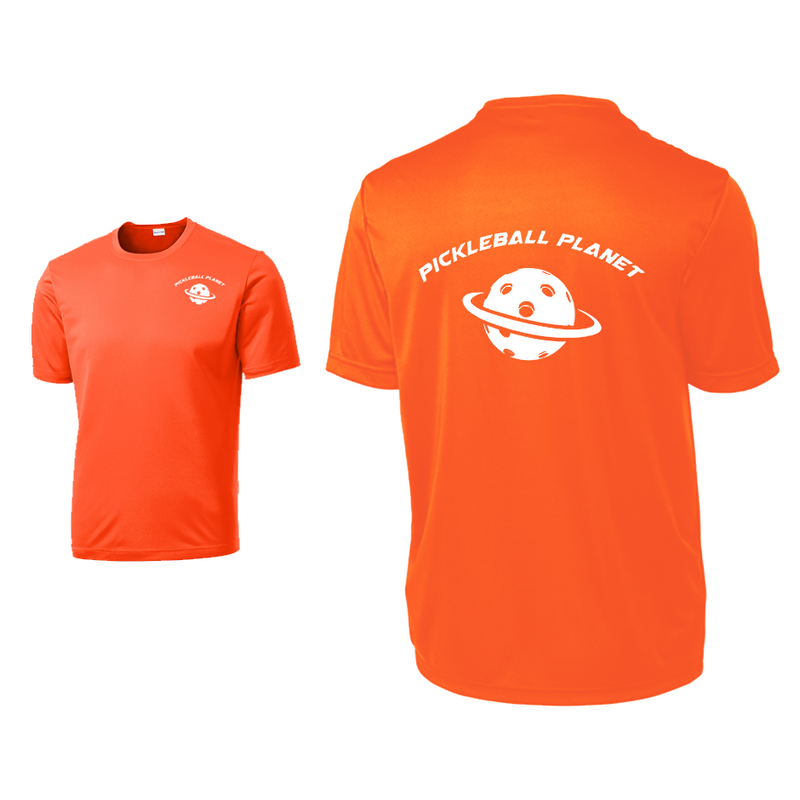 Neon Orange Pickleball Planet tee shirt
