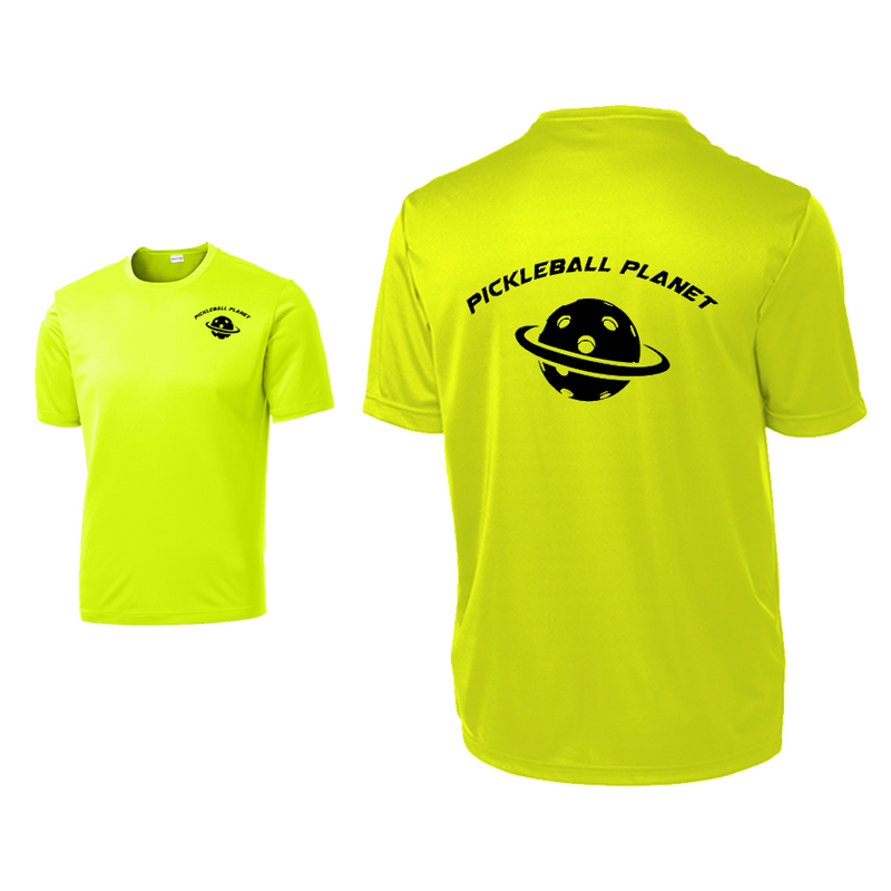 Neon Yellow Pickleball Planet tee shirt