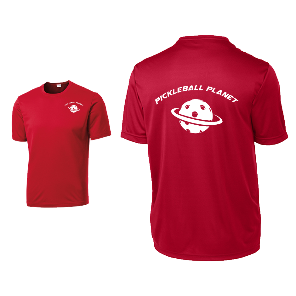 Red Pickleball Planet tee shirt