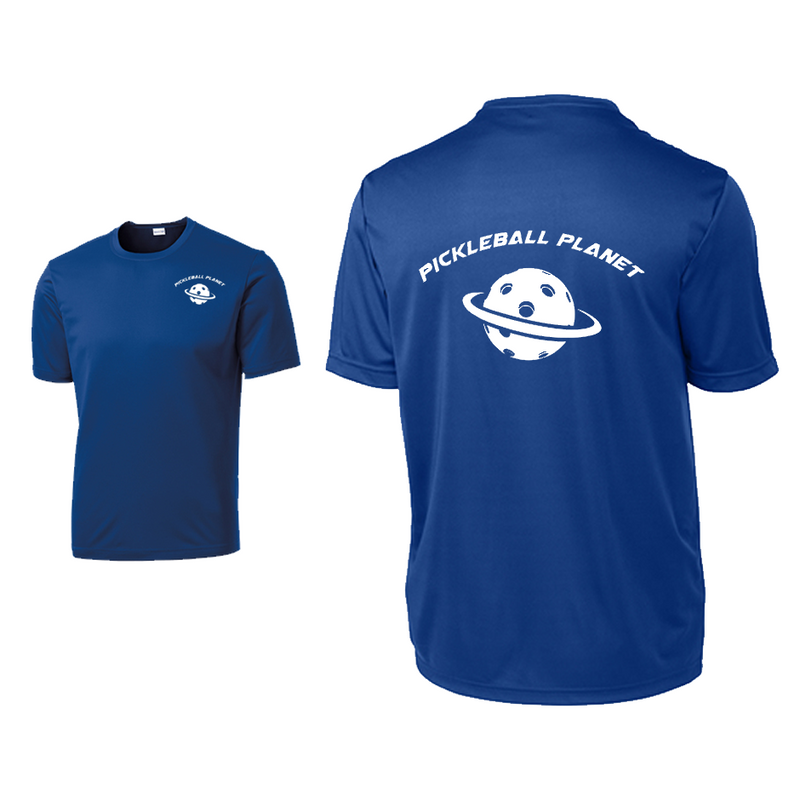 Royal Blue Pickleball Planet tee shirt