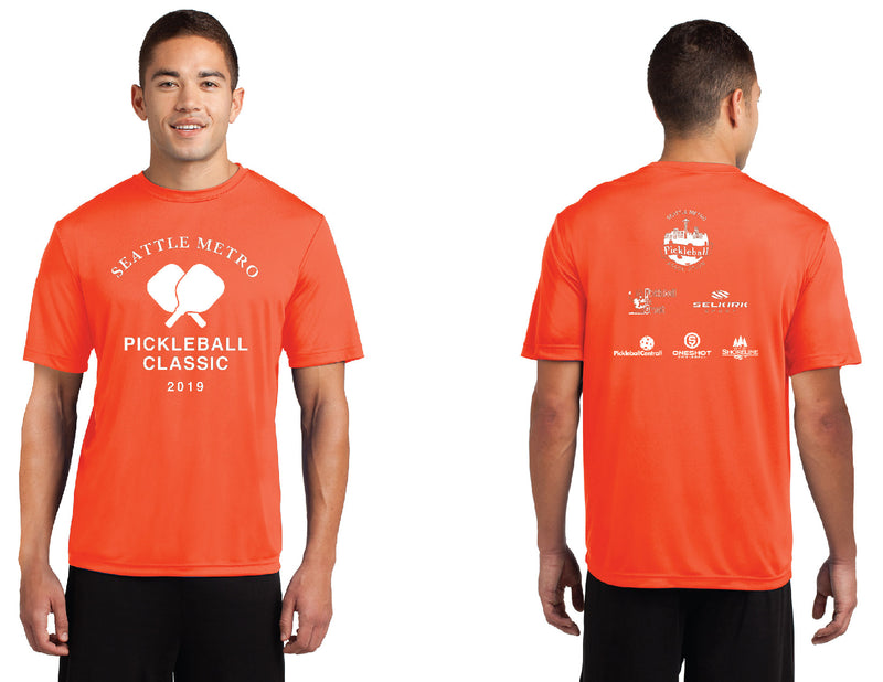 Men's Short Sleeve Performance 'Seattle Metro' Neon Orange Tournament Shirt