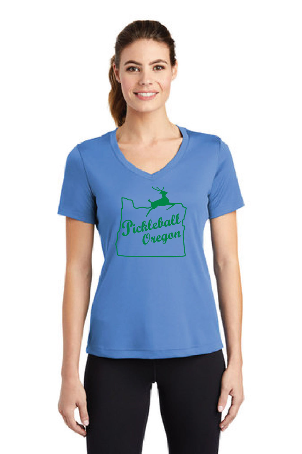 Ladies Short Sleeve Performance V-Neck Tee 'Pickleball Oregon'
