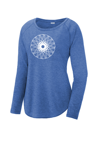 Ladies Sport-Tek ® PosiCharge ® Long Sleeve Tri-Blend Wicking Scoop Neck Raglan Tee 'Kaleidoscope' Design