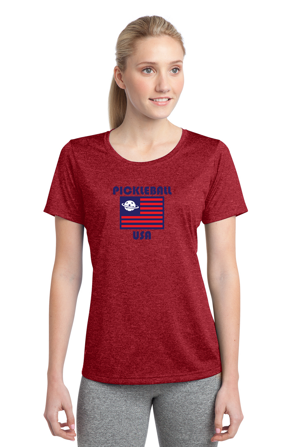Ladies Heathered Short Sleeve Performance Scoop Neck Tee 'PB USA'