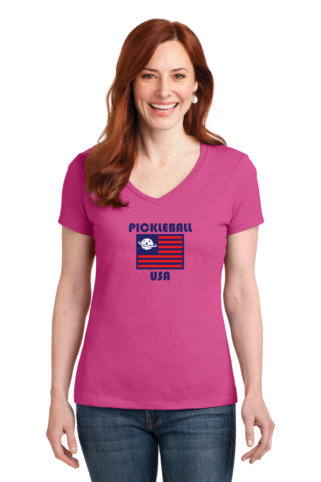 Ladies V-Neck 100% Cotton Short Sleeve Shirt 'PB USA'