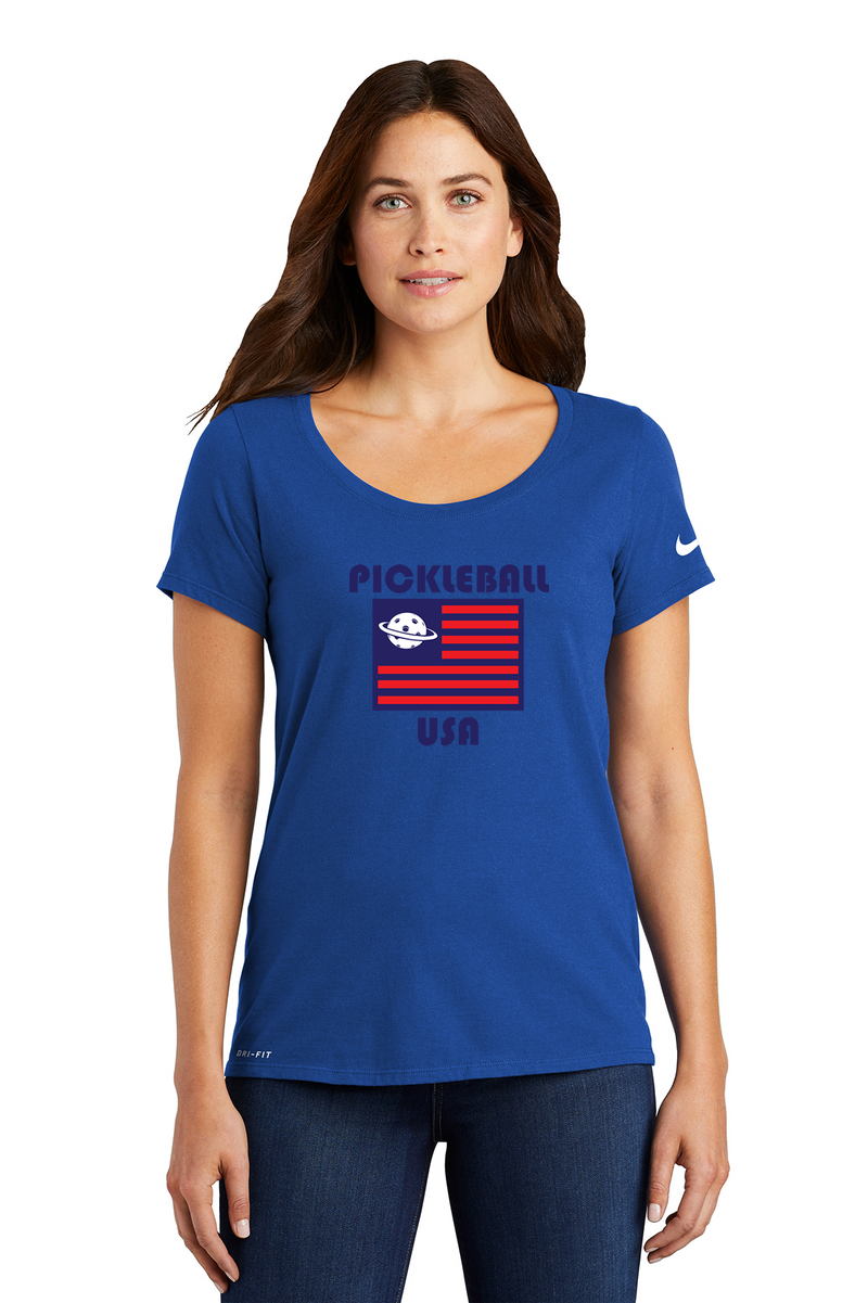 Ladies NIKE DRI-FIT Scoop Neck Tee 'Pickleball USA'