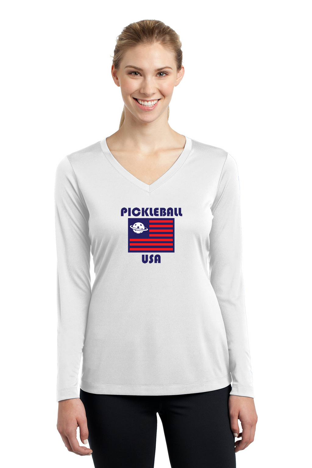 Ladies Long Sleeve V-Neck Performance Shirt 'PB USA'