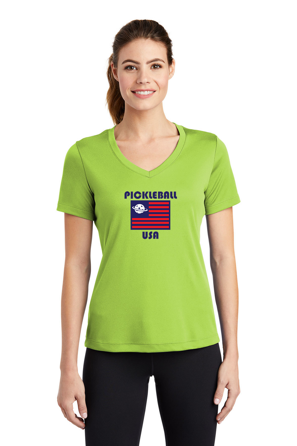 Ladies Short Sleeve Performance V-Neck Tee 'PB USA'