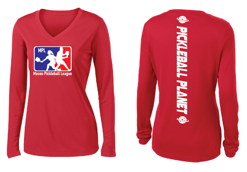 Ladies Long Sleeve V-Neck Performance Shirt 'MPL'