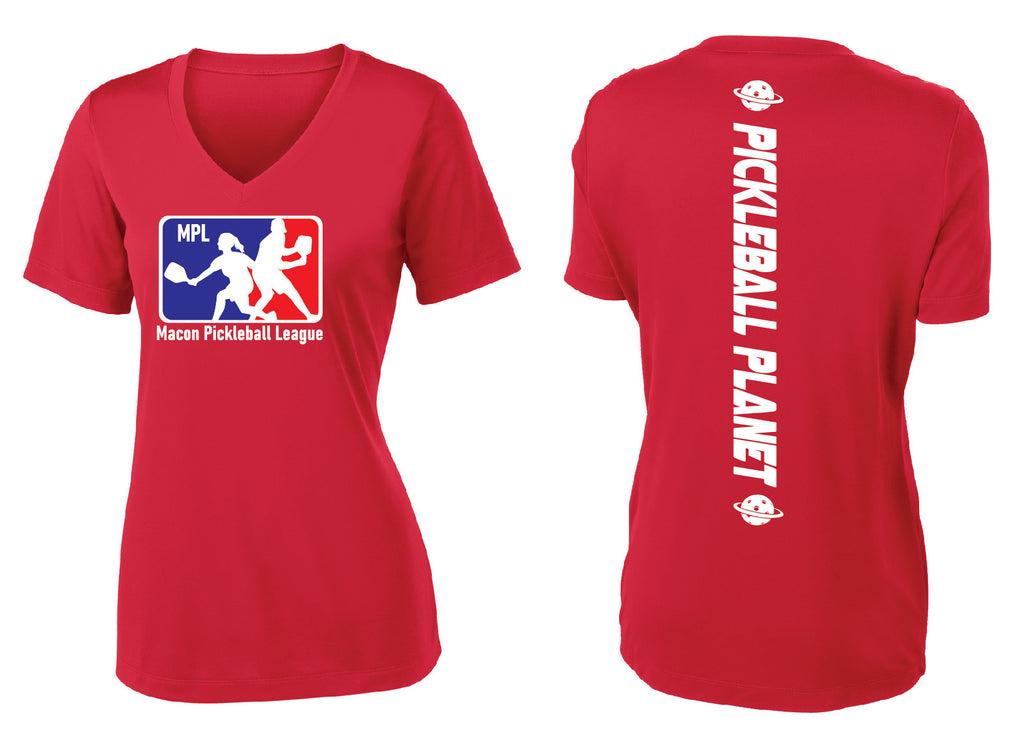 Ladies Short Sleeve Performance V-Neck Tee 'MPL'