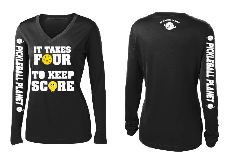Ladies Long Sleeve V- Neck Performance Shirt '4 To Score'