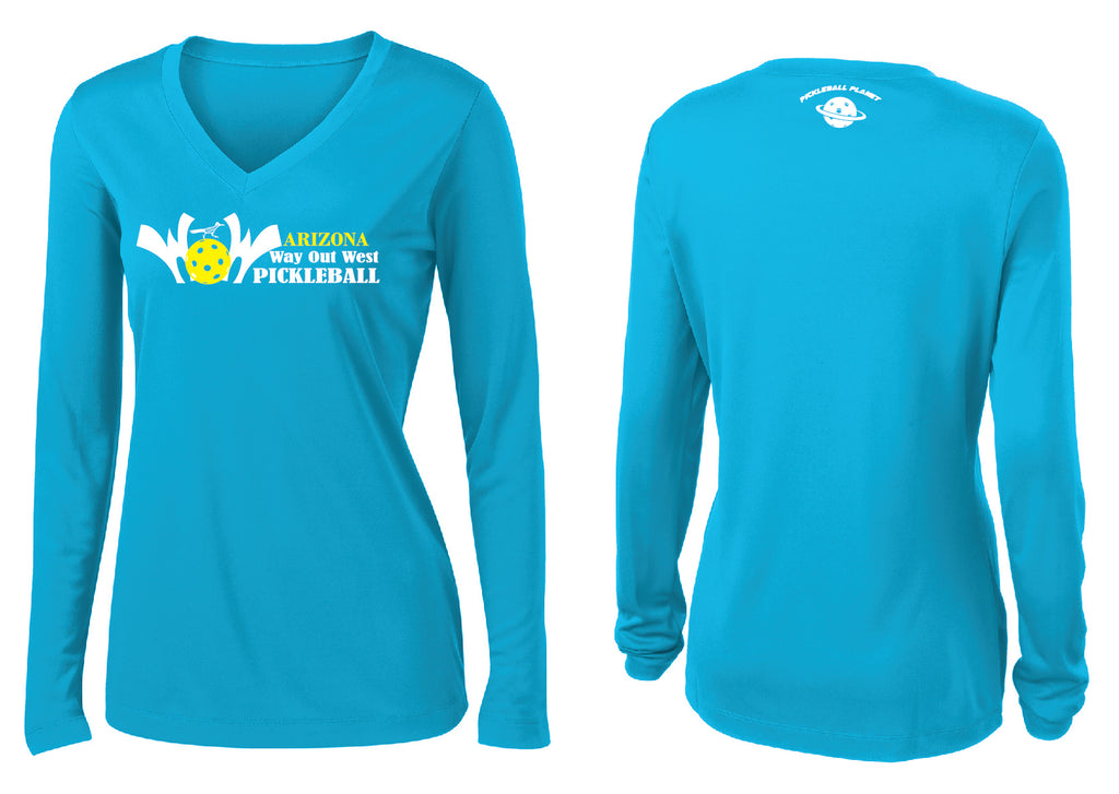 Women's Long Sleeve Performance 'AZ WOW' Shirt- Atomic Blue