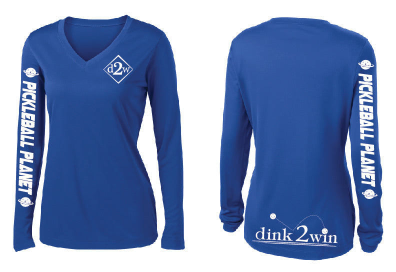 Ladies Long Sleeve V- Neck Performance Shirt 'D2W' Royal Blue