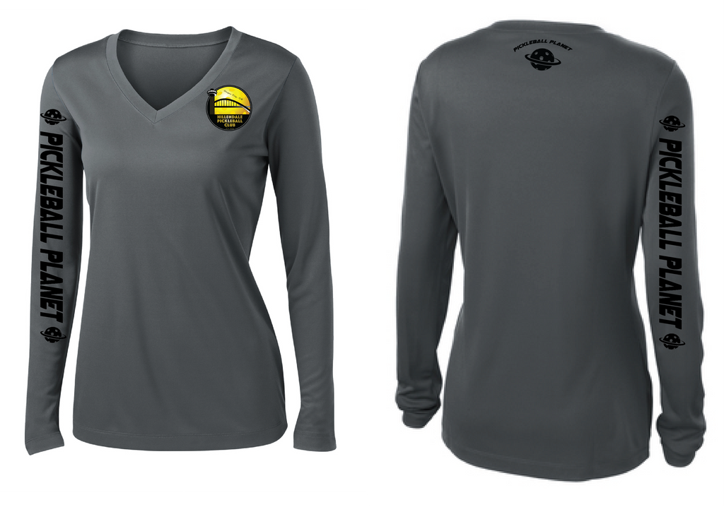 Women's Long Sleeve Performance 'Hillendale Front Only' Shirt- Gray