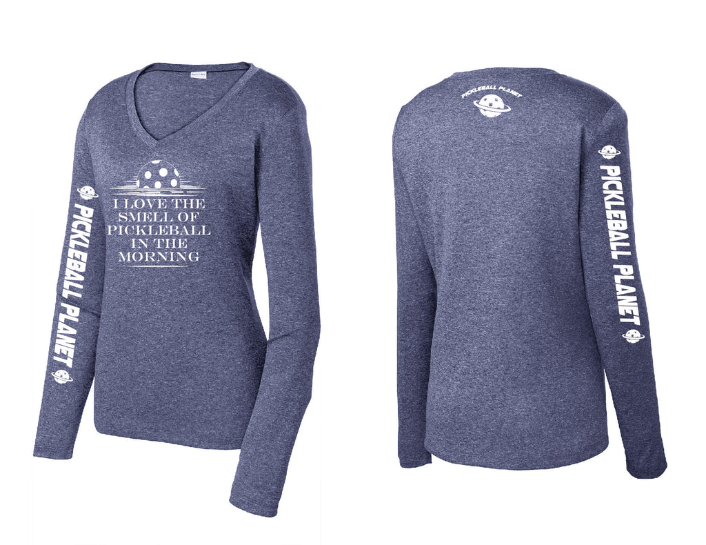Ladies Long Sleeve Heather Navy Blue V Neck I Love the Smell