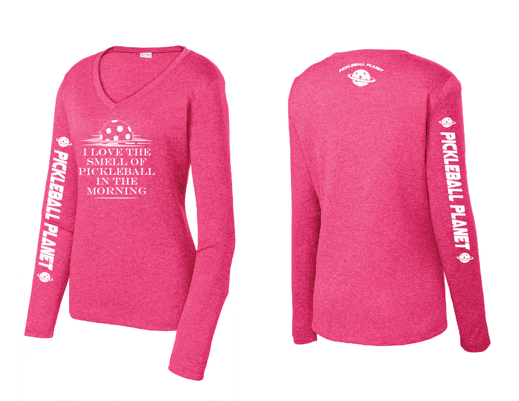 Ladies Long Sleeve Heather Pink Raspberry V Neck I Love the Smell