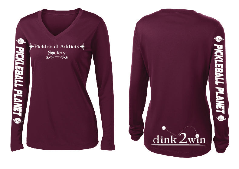 Ladies Long Sleeve Performance 'Pickleball Addicts Society' Maroon