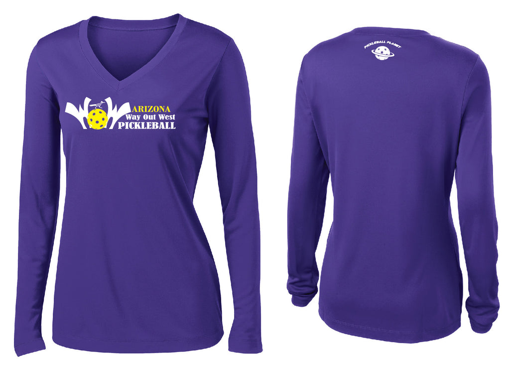 Women's Long Sleeve Performance 'AZ WOW' Shirt- Purple