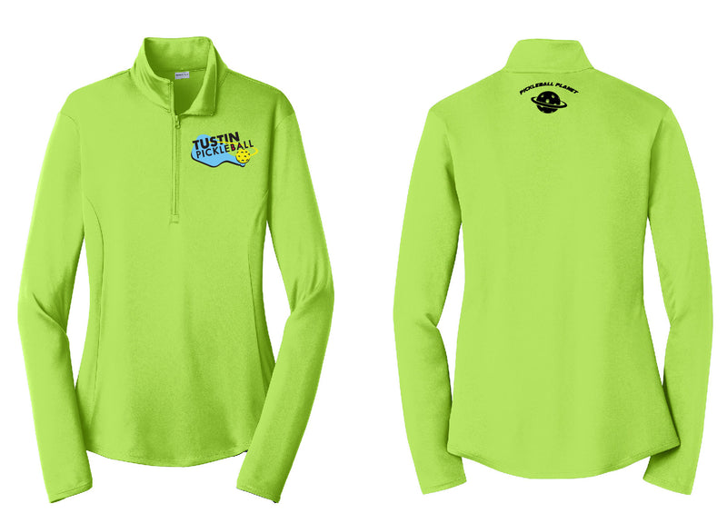 Ladies Quarter Zip Pullover 'Tustin PBC' Lime