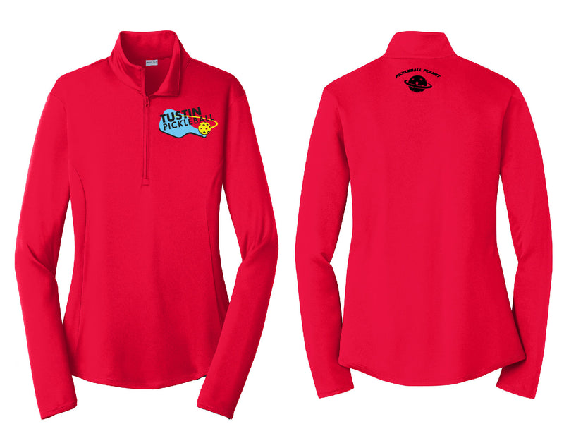 Ladies Quarter Zip Pullover 'Tustin PBC' Red