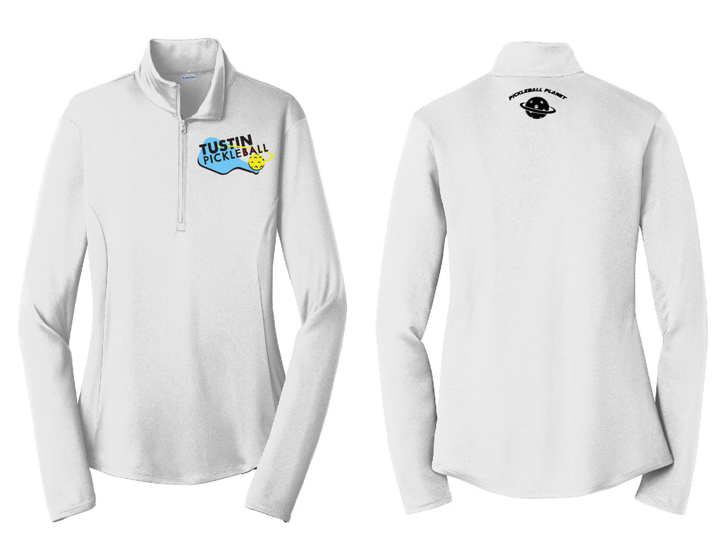 Ladies Quarter Zip Pullover 'Tustin PBC' White
