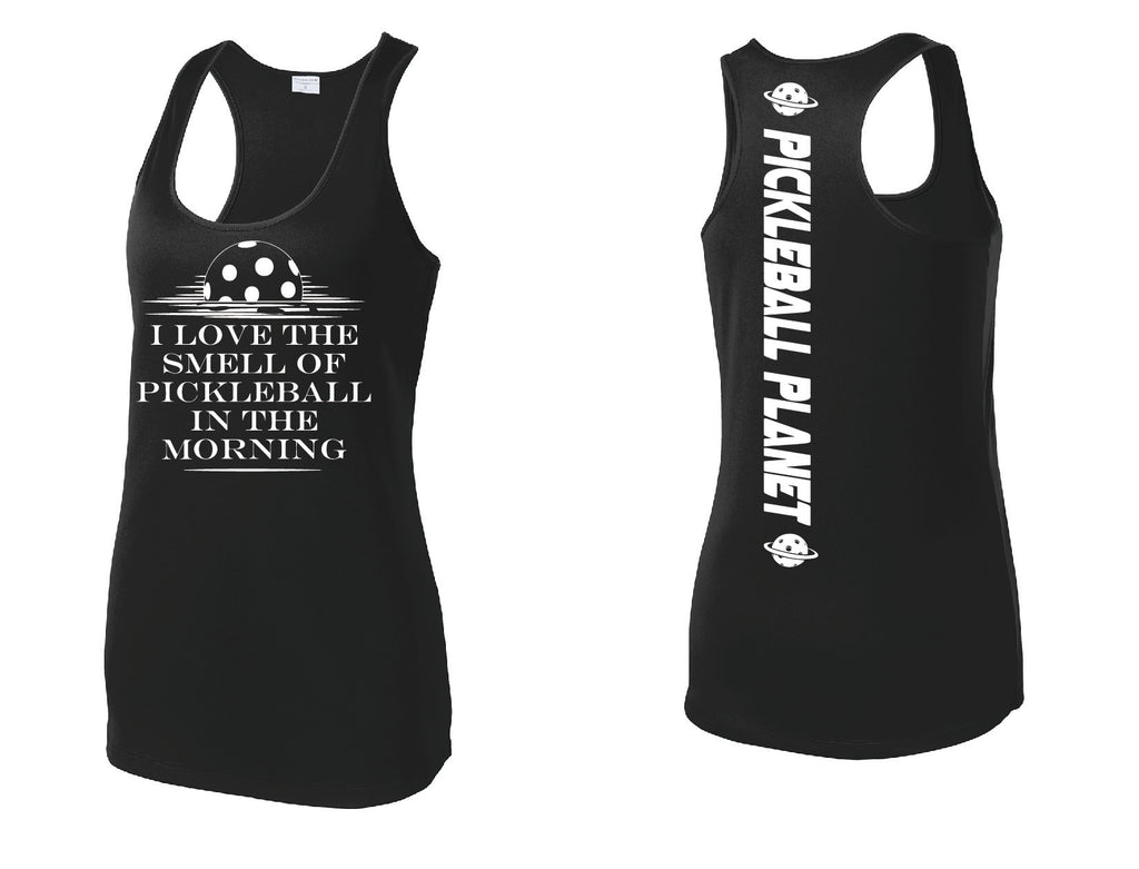 Ladies Black Racerback Tank I Love the Smell