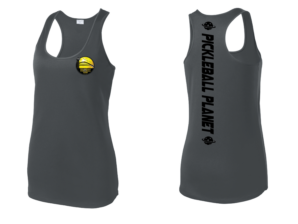 Women's Racerback Tank Performance 'Hillendale Front Only' Shirt- Gray