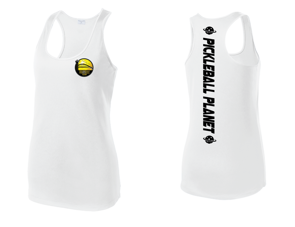Women's Racerback Tank Performance 'Hillendale Front Only' Shirt- White