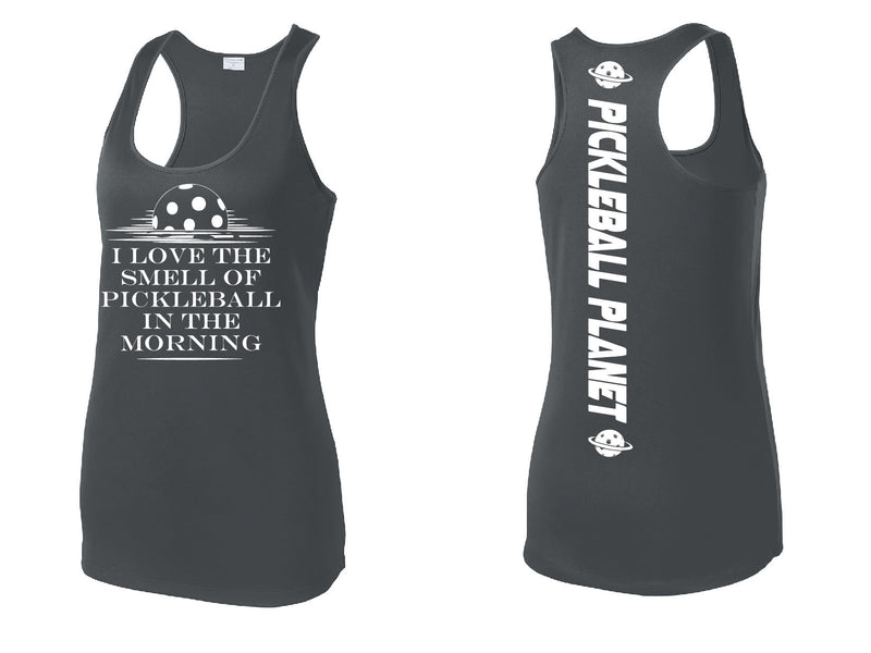 Ladies Gray Racerback Tank I Love the Smell