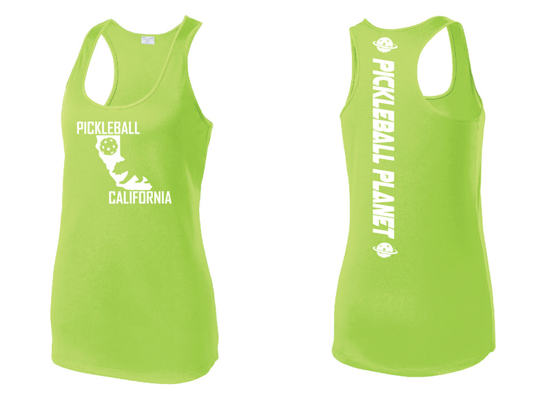 Racerback Lime Green California Bear