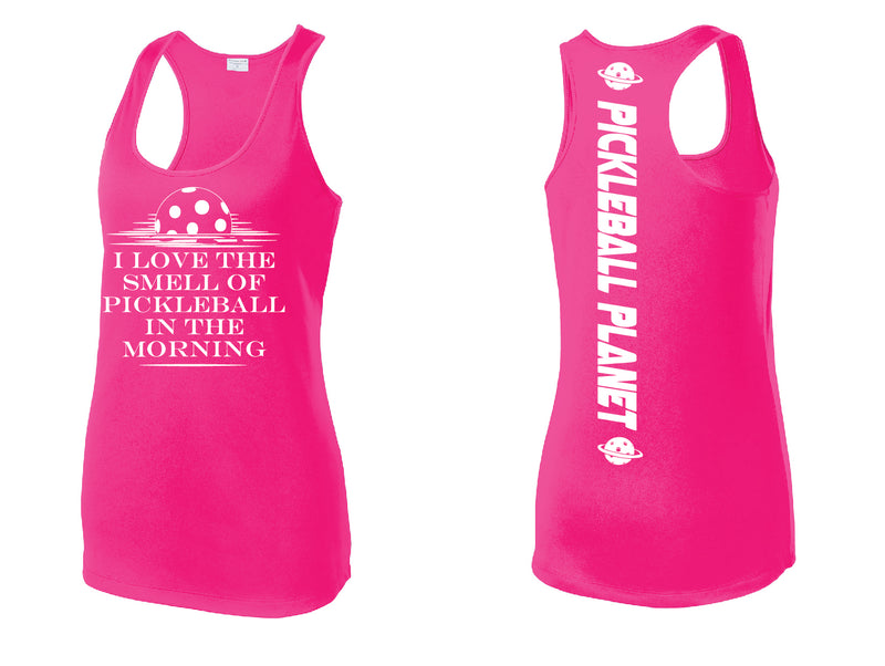 Ladies Neon Pink Racerback Tank I Love the Smell