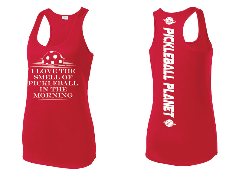 Ladies Red Racerback Tank I Love the Smell