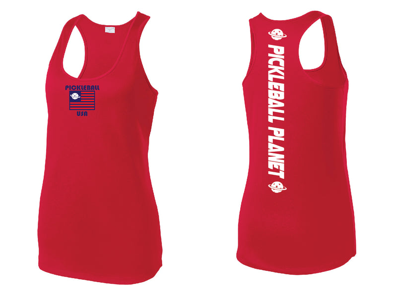 Ladies Racerback Red PB USA