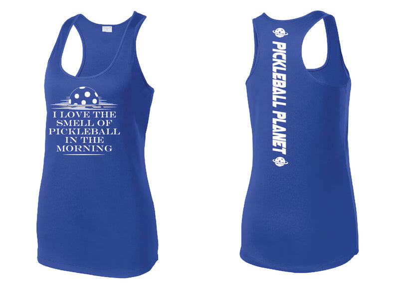Ladies Royal Blue Raceback Tank I Love the Smell