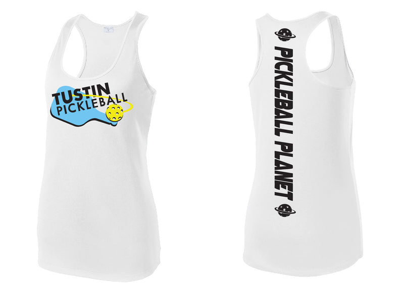 Ladies Performance Racerback Tank 'Tustin PBC' White