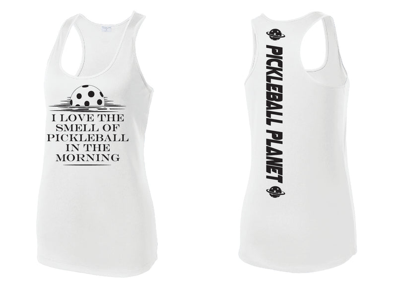 Ladies White Racerback Tank I Love the Smell