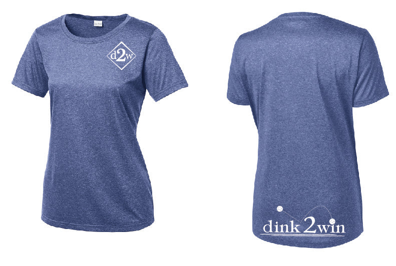 Ladies Short Sleeve Performance Scoop Neck Tee 'D2W' Heather Royal