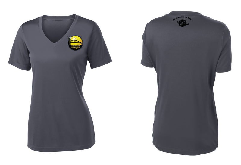 Women's Short Sleeve Performance 'Hillendale Front Only' Shirt- Gray