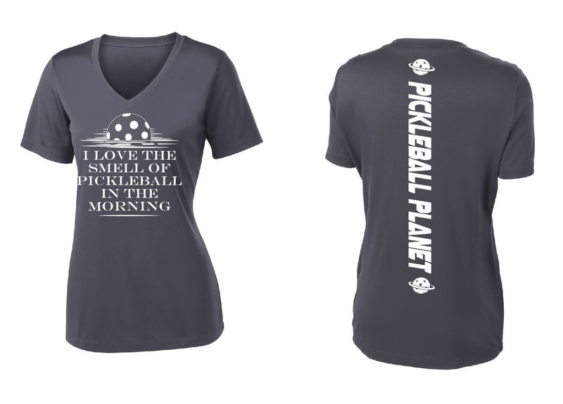 Ladies Short Sleeve Gray V Neck I Love the Smell