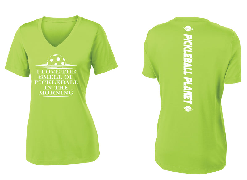 Ladies Short Sleeve Lime V Neck I Love the Smell