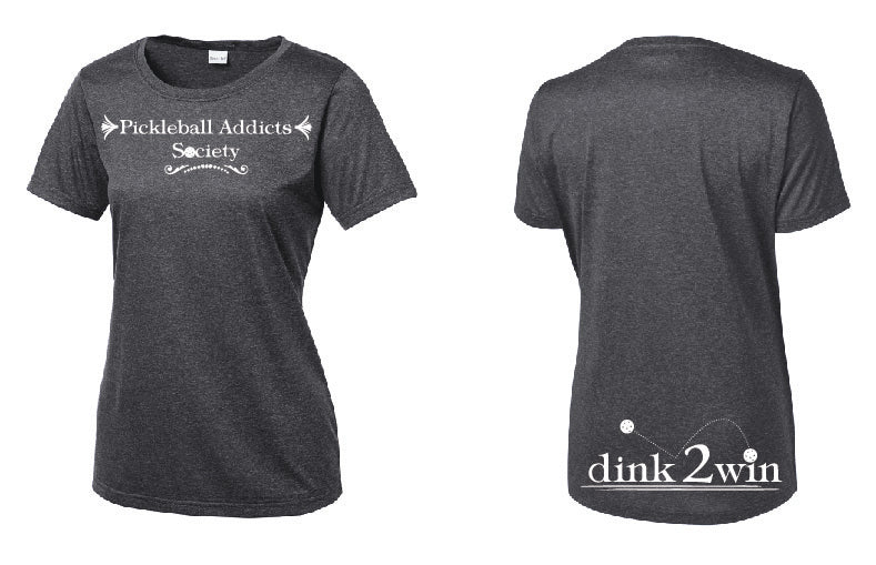 Ladies Short Sleeve Performance Scoop Neck Tee 'Pickleball Addicts Society' Heather Graphite