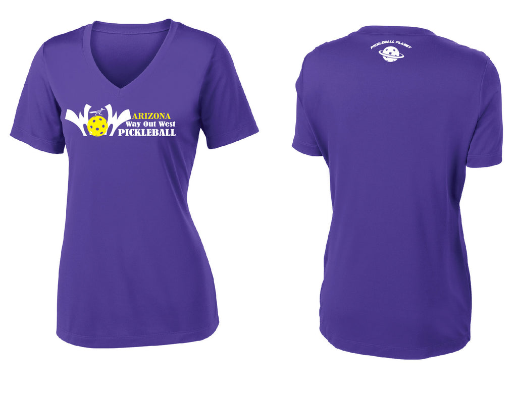 Women's Short Sleeve Performance 'AZ WOW' Shirt- Purple